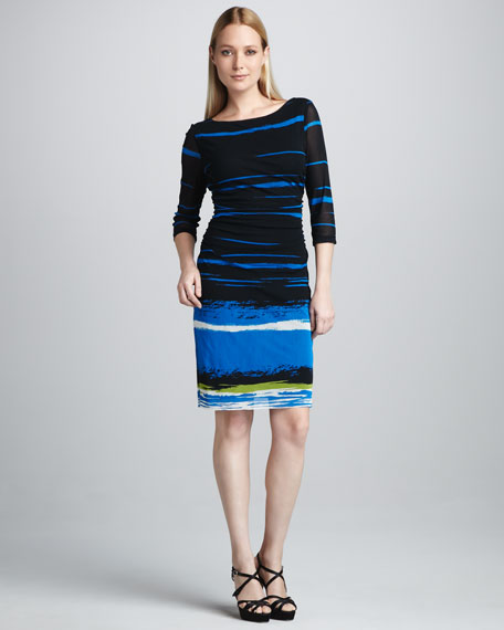 Striped Mesh Boat-Neck Dress