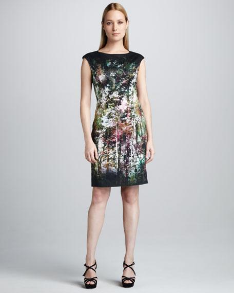 Lace Printed Cap-Sleeve Dress