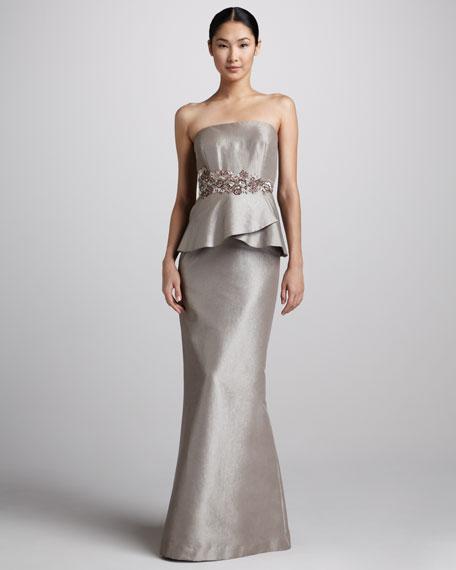 Strapless Peplum Gown