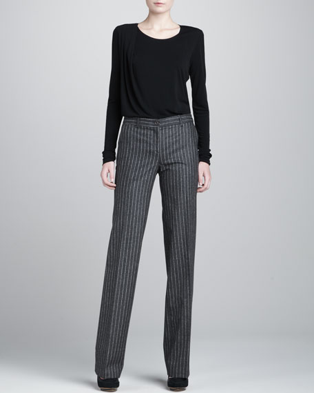 Samantha Straight-Leg Pants, Charcoal/White
