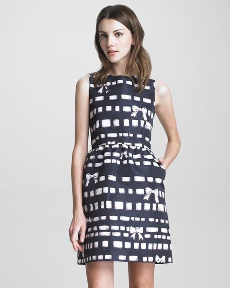 Bow-Print Faille Dress