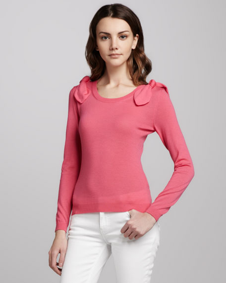 Bow-Shoulder Wool Sweater