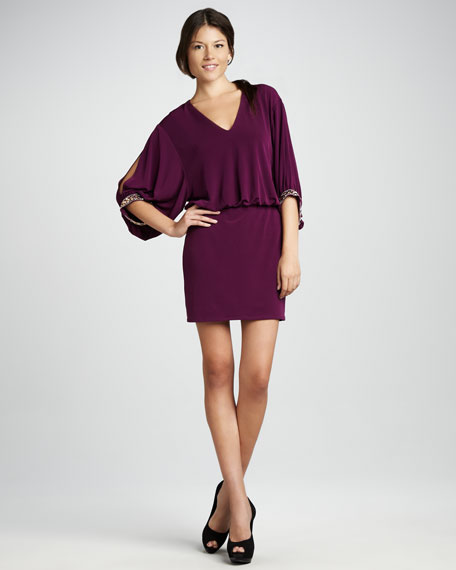 Three-Quarter Blouson Dress