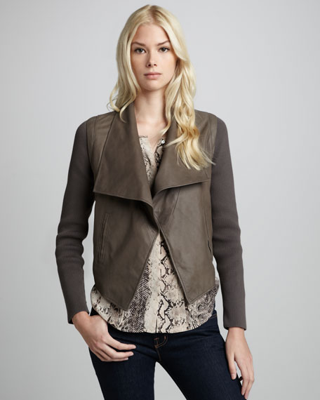 Jevon Kidskin Drape-Front Jacket