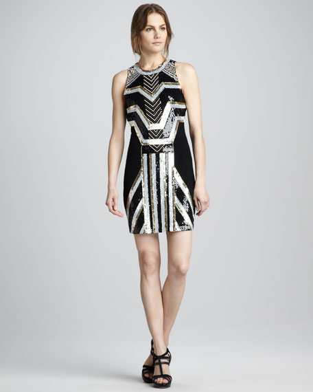 Sequin-Pattern Cocktail Dress