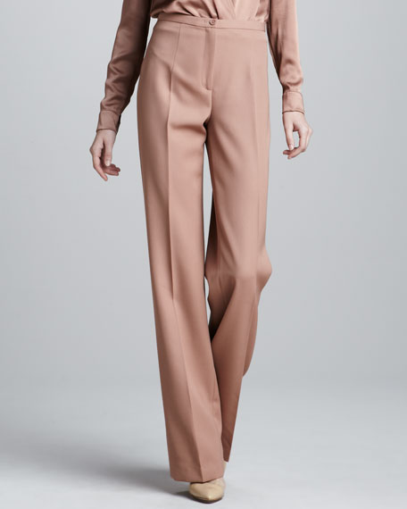 Wool Gabardine Waisted Pants, Blush