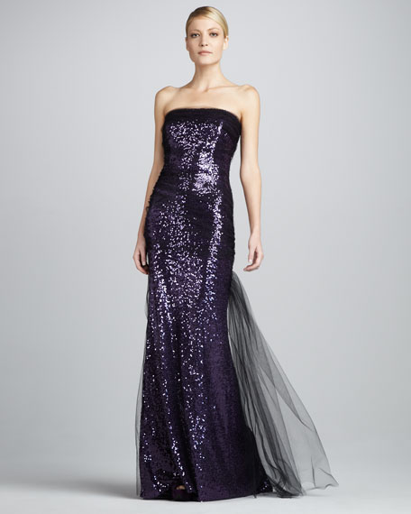 Sequined Mesh-Overlay Gown
