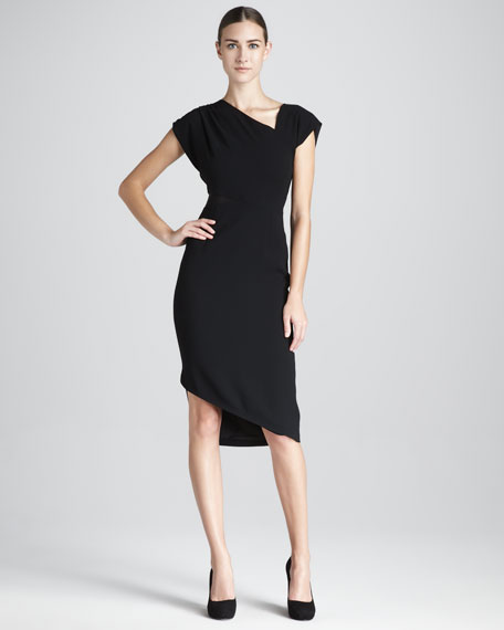Mesh-Inset Draped Dress