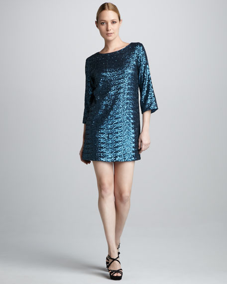 Sequined Three-Quarter-Sleeve Cocktail Dress