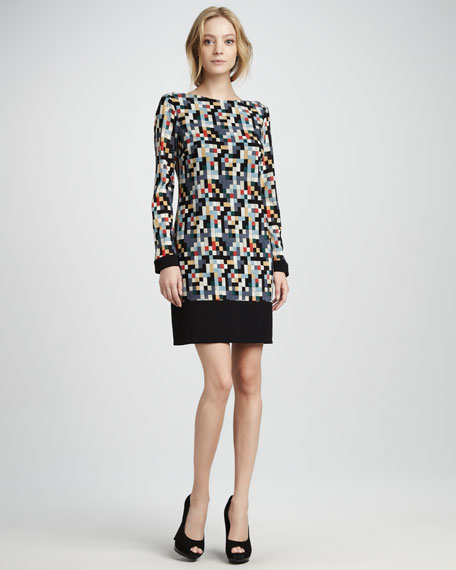 Geo-Print Long-Sleeve Jersey Dress