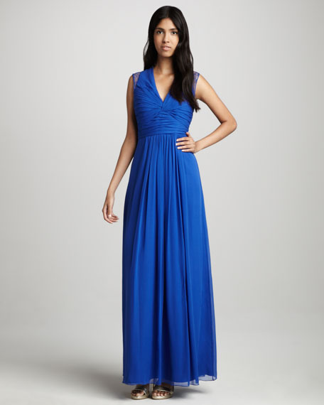Lace-Back V-Neck Gown