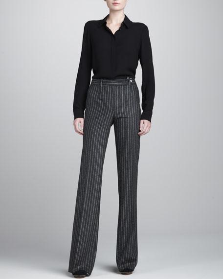 Agnes Wide-Leg Pants, Charcoal/White
