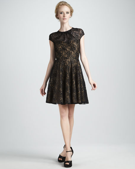Heidi Metallic-Lace Dress