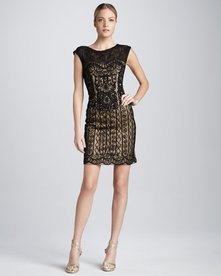 Cap Sleeve Lace and Passementerie Cocktail Dress