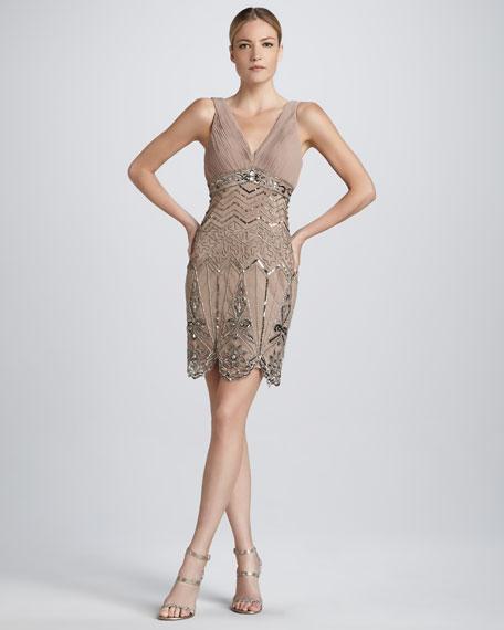 Sleeveless Beaded Cocktail Dress