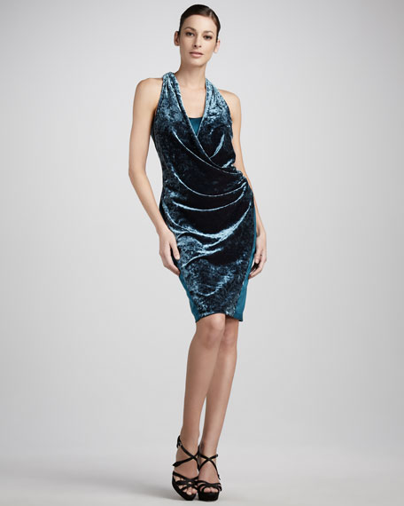 Draped Velvet/Satin Dress