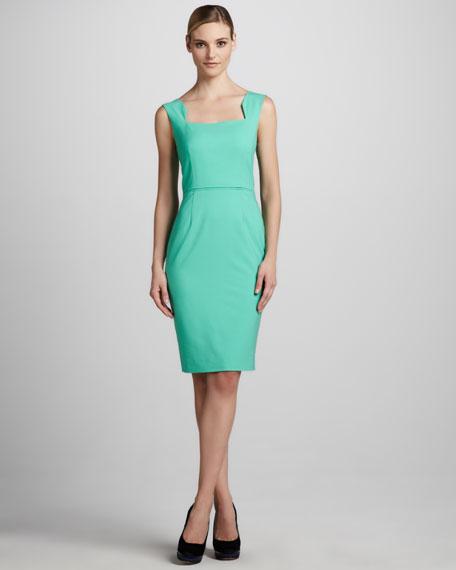 Sleeveless Neck-Detail Sheath Dress
