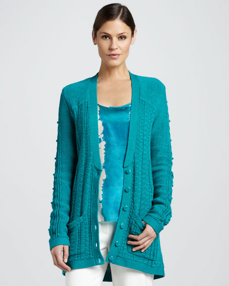 Organic Cable-Knit Cardigan, Seaglass