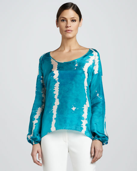 Scoop-Neck Printed Blouse
