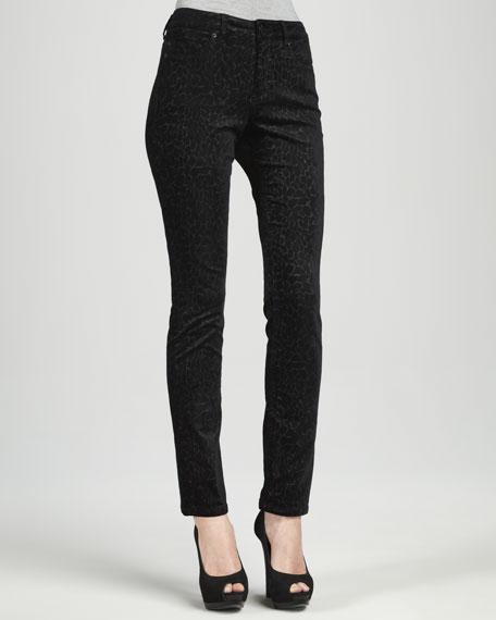 Velveteen Printed Jeans, Black/Gold