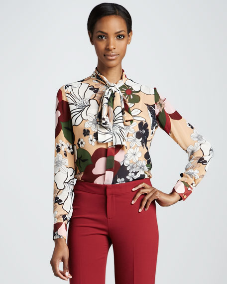 Piped Tie-Neck Floral Blouse