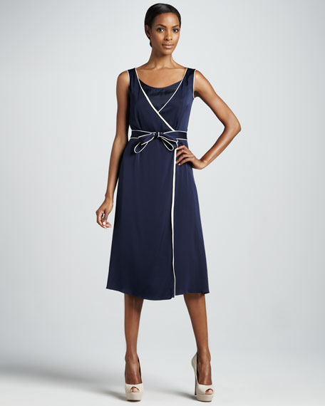 Piped Sleeveless Wrap Dress