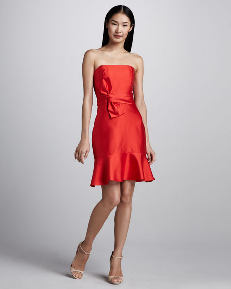 justina strapless bow-waist dress