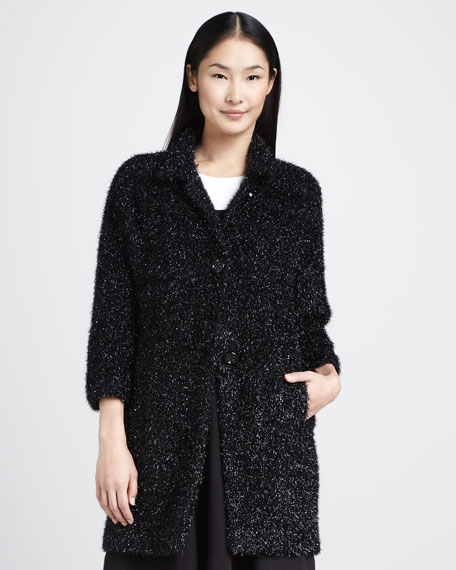 linda three-quarter-sleeve metallic coat