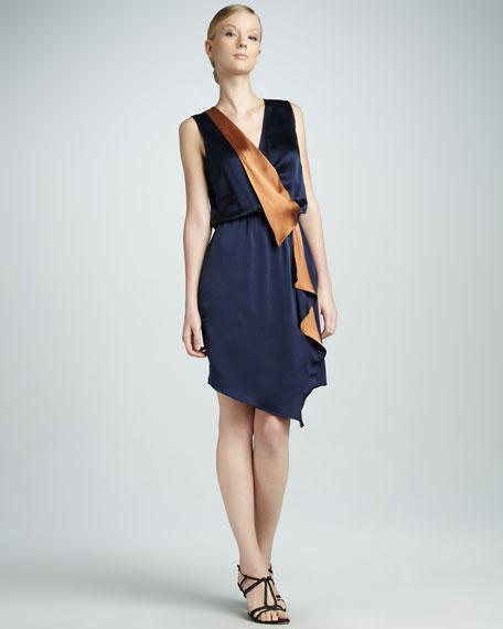 Asymmetric Silk Ruffle Dress