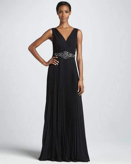 Sleeveless Gown with Beaded Waist