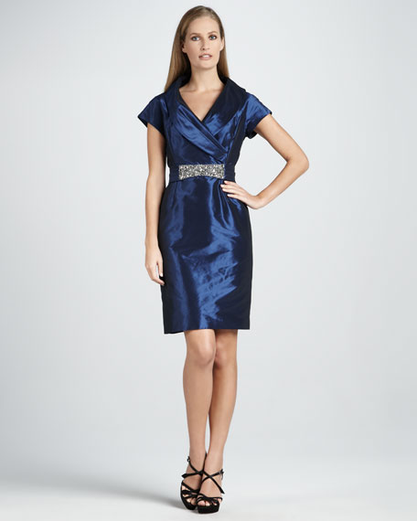 Taffeta Cocktail Dress with Beaded Waist