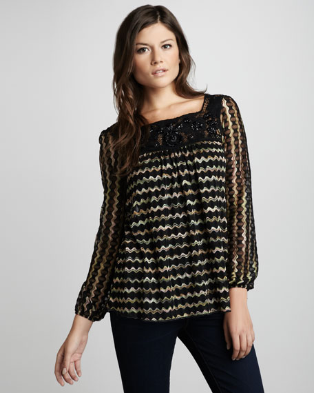 Beaded Wave-Print Blouse