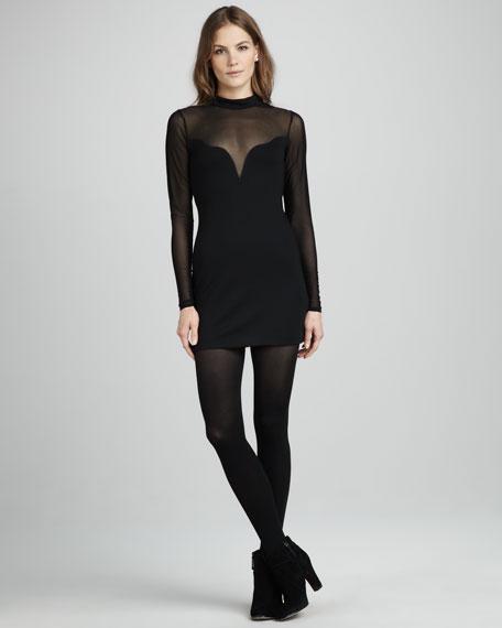 Devi Sheer-Top Long-Sleeve Dress