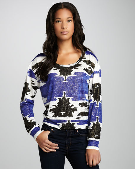 Shimmery Tribal-Print Top