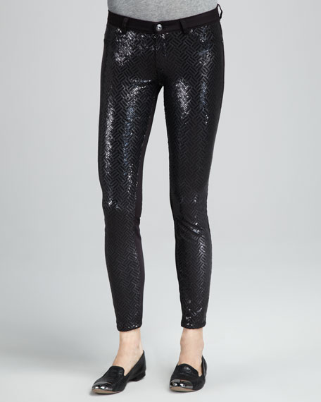 Sequined Twill Jeans