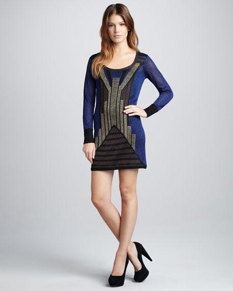 Shimmery Knit Art Deco Dress