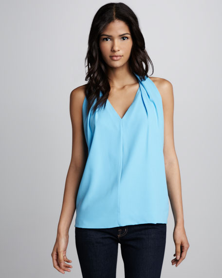 Reagan Draped Sleeveless Top, Cornflower