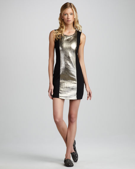 Metallic-Panel Ponte Dress