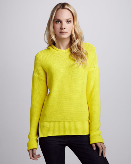 Long-Sleeve Knit Hoodie, Yellow