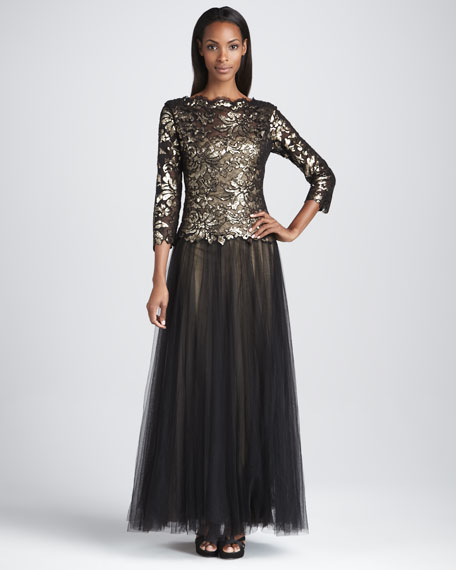 Three-Quarter Sleeve Gown with Tulle Skirt
