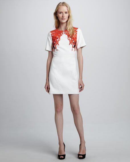 Short-Sleeve Coral-Printed Dress