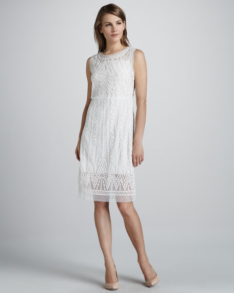 Embroidered Favorite Sheer-Trim Dress, Moon