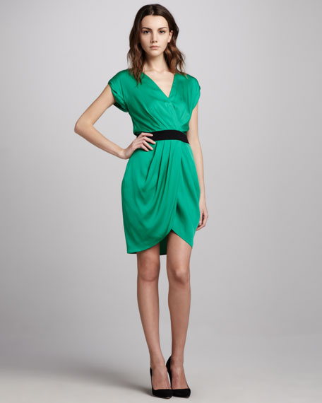 Draped Faux-Wrap Dress