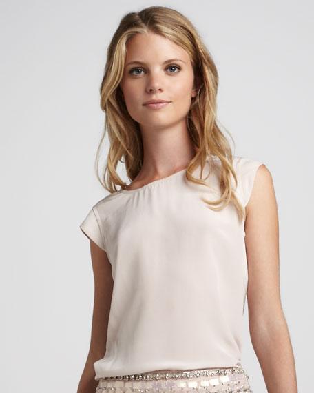 Cap-Sleeve Silk Top