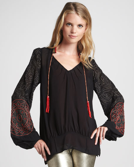 Embroidered Beaded Peasant Top