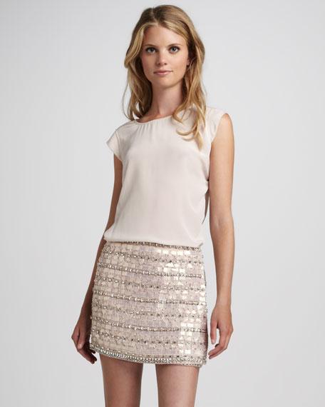 Faux-Wrap Beaded Miniskirt
