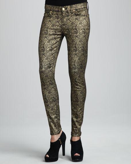 Skinny Medallion-Print Jeans
