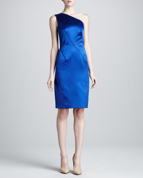 Asymmetric Duchess Satin Dress, Cobalt