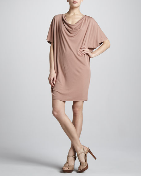 Cowl-Neck Jersey Dress, Blush