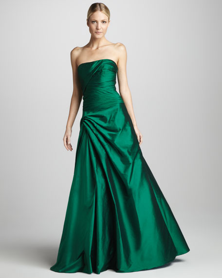 Strapless Gathered Taffeta Gown